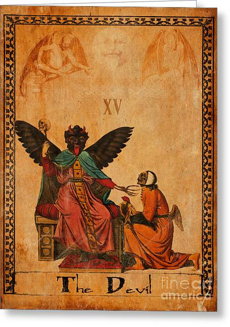 Mysticism Greeting Cards - Tarot Card The Devil Greeting Card by Cinema Photography