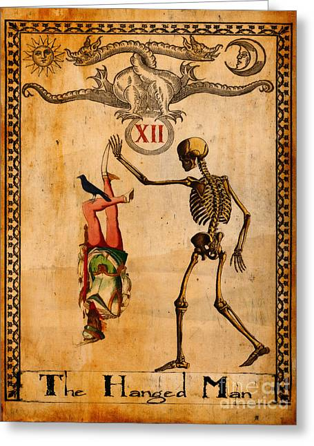 Mysticism Greeting Cards - Tarot Card The Hanged Man Greeting Card by Cinema Photography