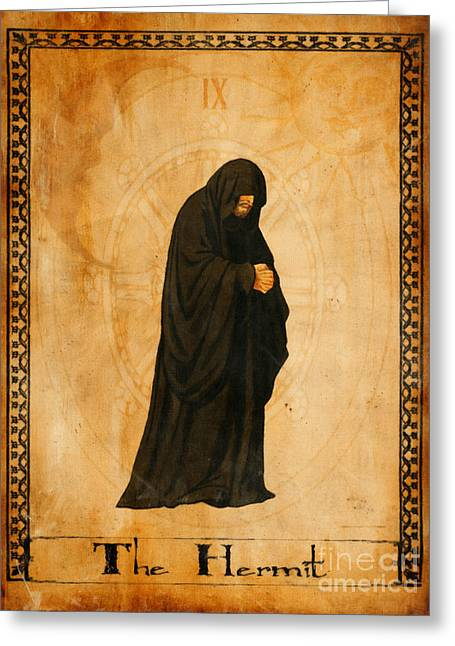 Mysticism Greeting Cards - Tarot Card The Hermit Greeting Card by Cinema Photography