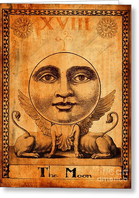 Mysticism Greeting Cards - Tarot Card The Moon Greeting Card by Cinema Photography