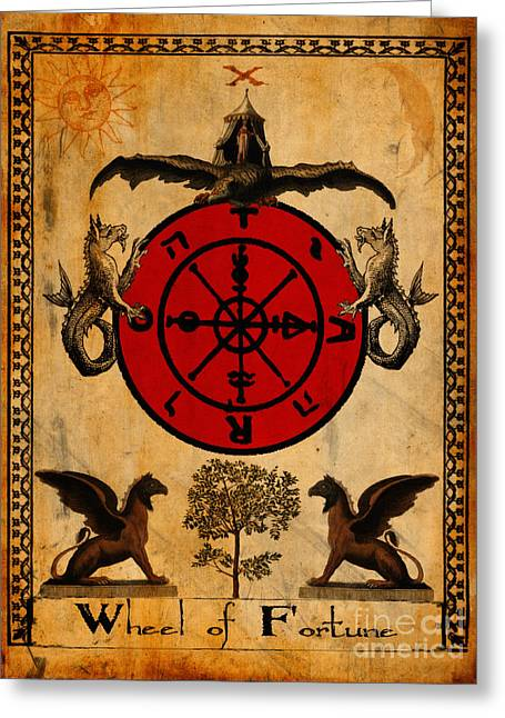 Fortune-teller Greeting Cards - Tarot Card Wheel of Fortune Greeting Card by Cinema Photography