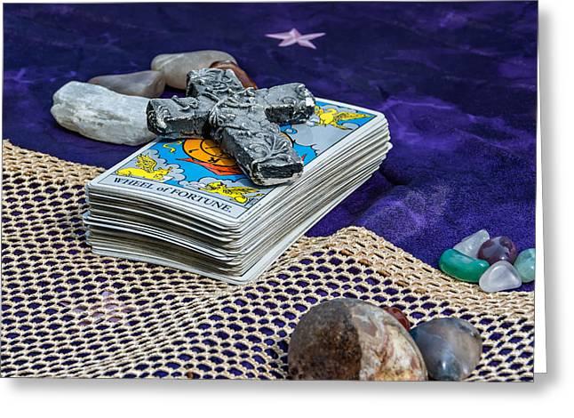 Table Cloth Greeting Cards - Tarot Deck - Your Future Awaits  Greeting Card by Steve Harrington