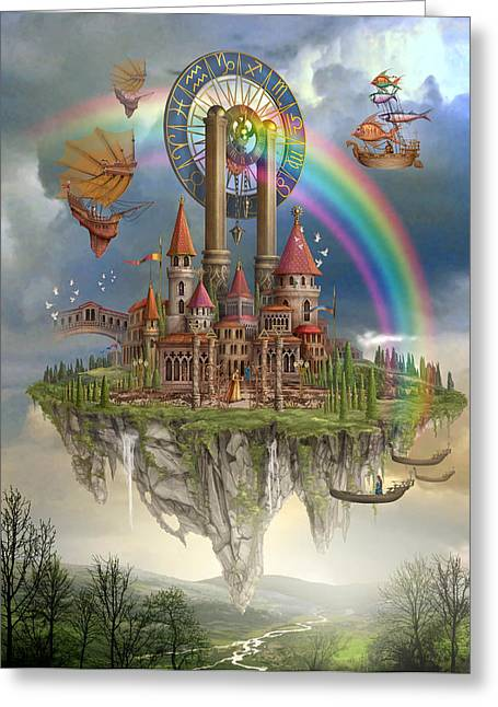 Hot Air Greeting Cards - Tarot Town Greeting Card by Ciro Marchetti