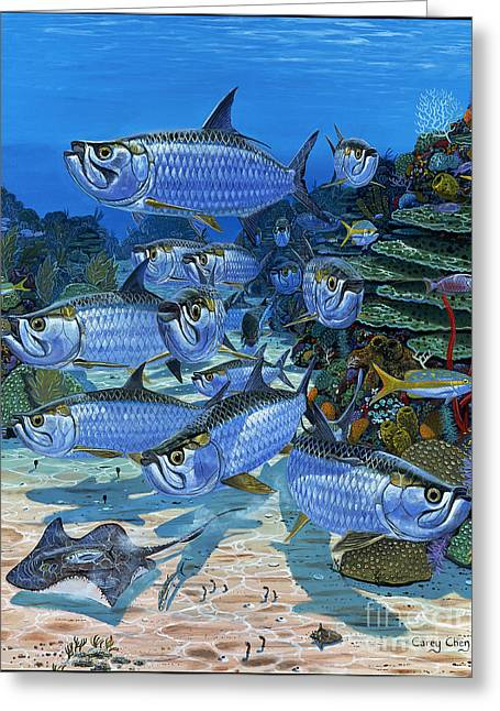Ocean Turtle Paintings Greeting Cards - Tarpon Alley In0019 Greeting Card by Carey Chen