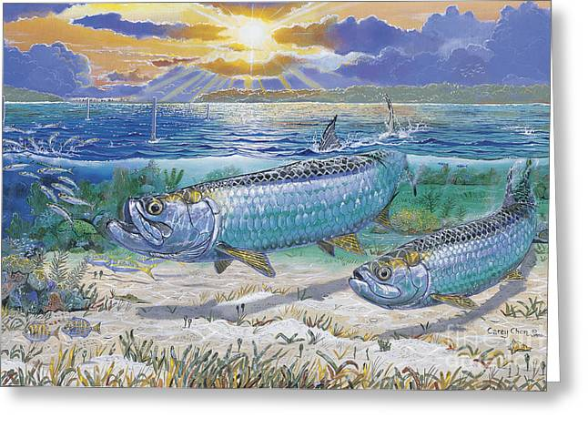Bonefish Greeting Cards - Tarpon cut In0011 Greeting Card by Carey Chen