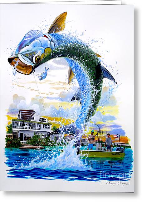 Bass Pro Shops Greeting Cards - Tarpon leap Greeting Card by Carey Chen