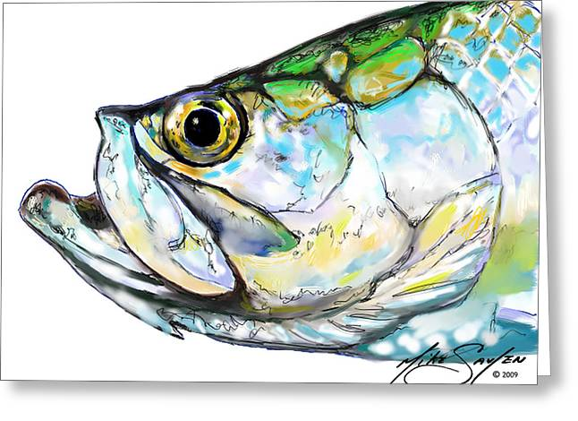 Savlen Greeting Cards - Tarpon Portrait Greeting Card by Mike Savlen