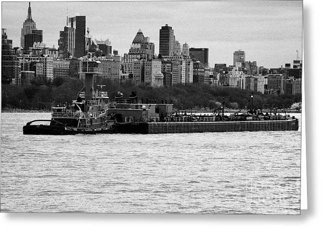 Manhatan Greeting Cards - Tarpon tugboat pushes the Hatteras barge along the Hudson River new york city Greeting Card by Joe Fox