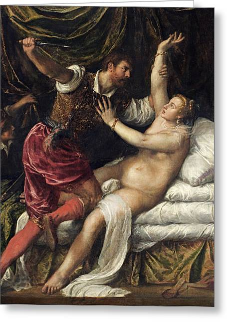 Rape Greeting Cards - Tarquin And Lucretia, C.1568-76 Greeting Card by Titian