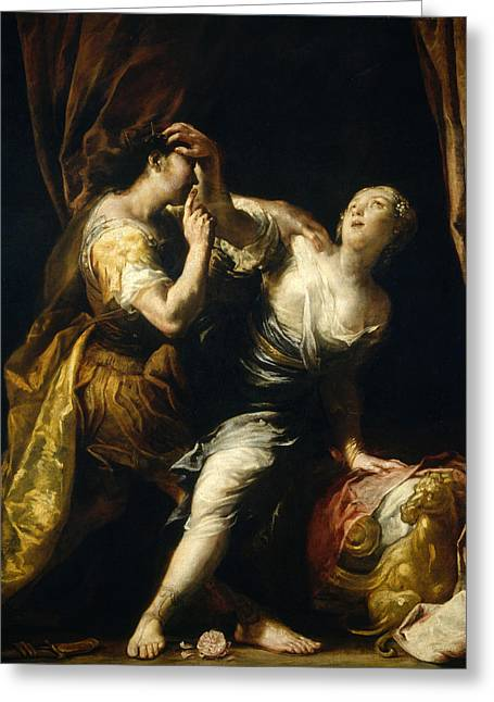 Lucretia Greeting Cards - Tarquin and Lucretia Greeting Card by Giuseppe Maria Crespi