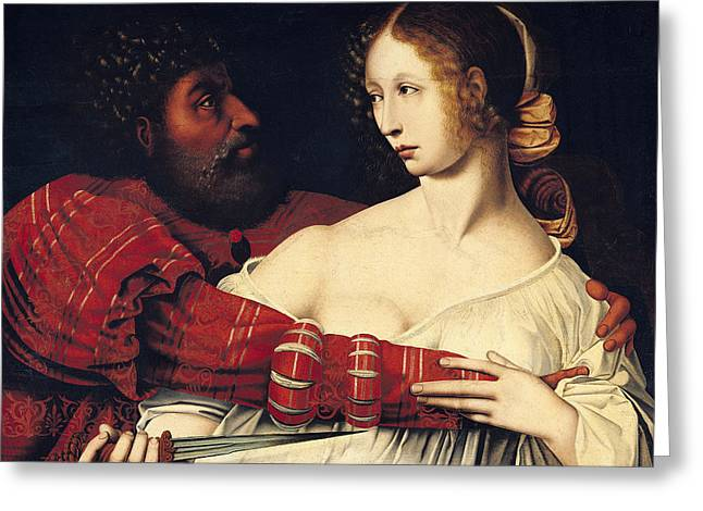 Wife Greeting Cards - Tarquin And Lucretia Oil On Panel Greeting Card by Jan Massys or Metsys