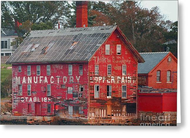 Wooden Building Greeting Cards - Tarr and Wonson Paint Manufactory Greeting Card by Tom Gari Gallery-Three-Photography