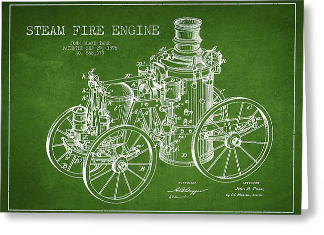 Tarr Steam Fire Engine Patent Drawing From 1896 - Green Greeting Card by Aged Pixel