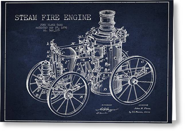 Tarr Steam Fire Engine Patent Drawing From 1896 - Navy Blue Greeting Card by Aged Pixel
