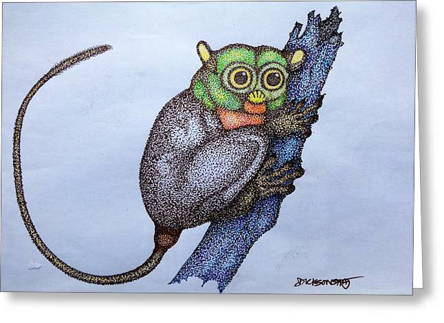 Pointillist Drawings Greeting Cards - Tarsier Pointillist Greeting Card by Dickson Shia