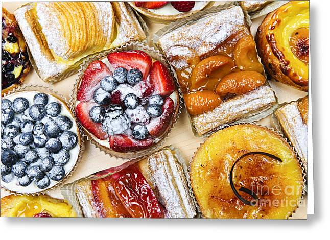 Pastries Greeting Cards - Tarts and pastries Greeting Card by Elena Elisseeva