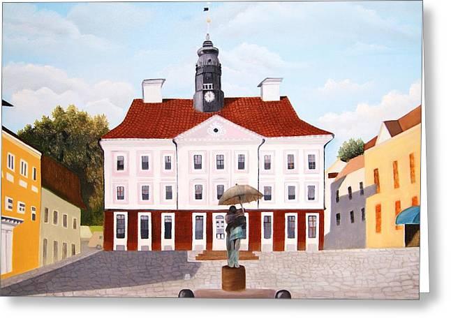 Pause Greeting Cards - Tartu town square         Greeting Card by Misuk  Jenkins