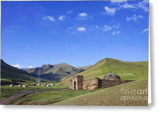 At-bashy Mountain Range Greeting Cards - Tash Rabat caravanserai in the Tash Rabat Valley of Kyrgyzstan  Greeting Card by Robert Preston
