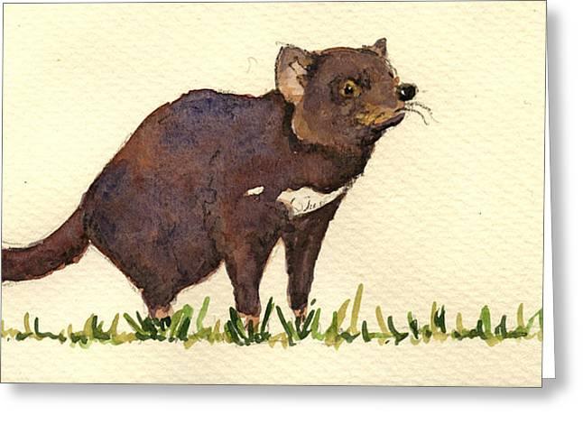 Marsupial Greeting Cards - Tasmanian devil Greeting Card by Juan  Bosco