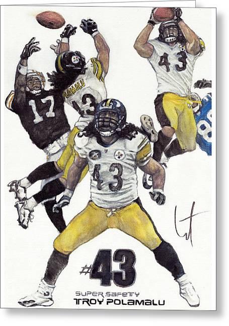 Steelers Drawings Greeting Cards - Tasmanian Greeting Card by William Western