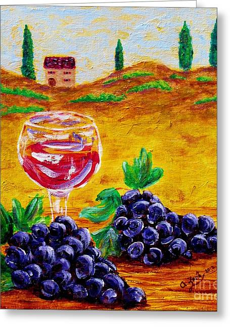 Grape Vineyard Greeting Cards - Taste of Italy Greeting Card by Annie Zeno