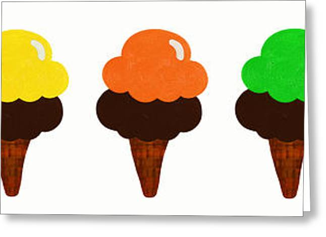 Strawberry Art Greeting Cards - Taste The Ice Cream Rainbow Greeting Card by Andee Design