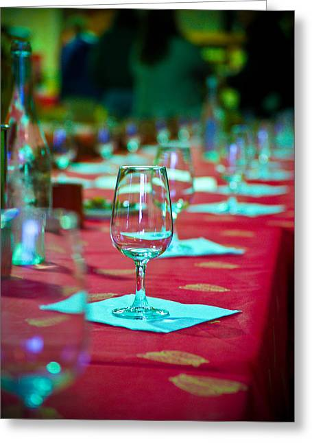 Tasting In Red Greeting Card by Kent Nancollas