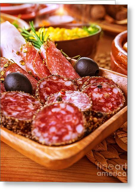 Delicatessen Meat Greeting Cards - Tasty cold cuts Greeting Card by Anna Omelchenko
