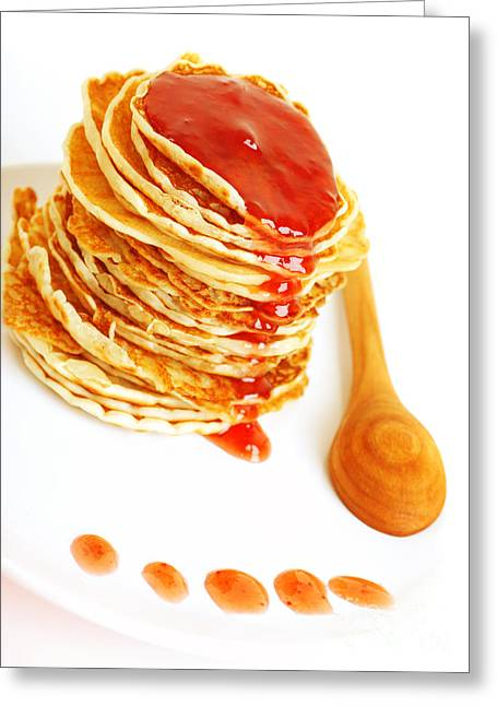 Tasty Pancakes With Syrop Greeting Card by Anna Om