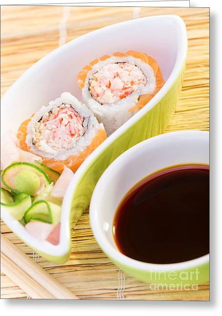 Wasabi Greeting Cards - Tasty sushi Greeting Card by Anna Omelchenko