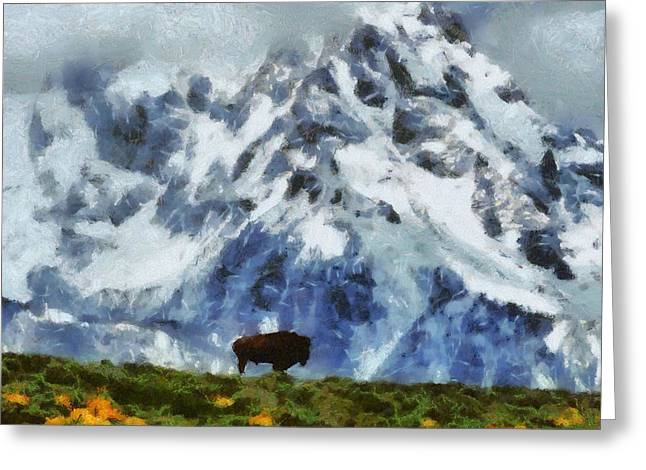 Buffalo Mixed Media Greeting Cards - Tatanka Buffalo In Wyoming Greeting Card by Dan Sproul