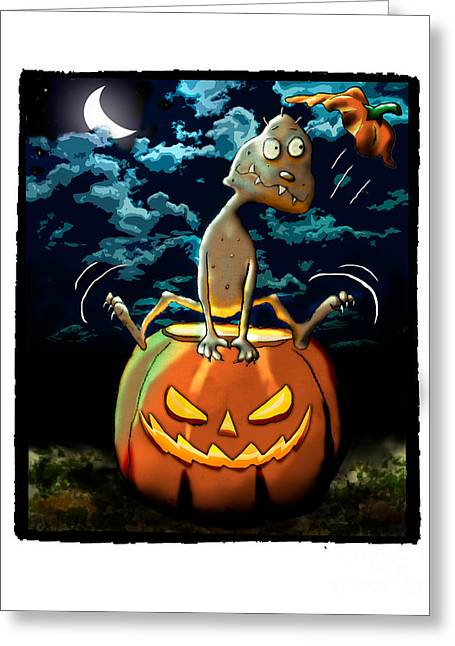 Space Themed Nursery Greeting Cards - Tater Head in Pumpkin Greeting Card by Star  Mudersbach