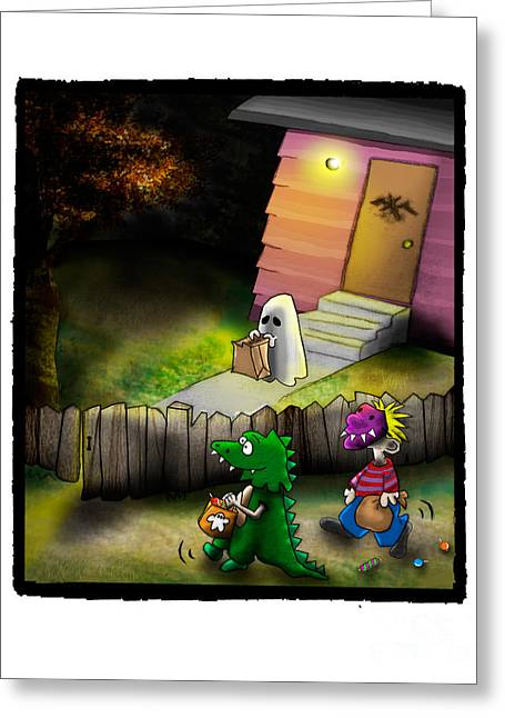 Space Themed Nursery Greeting Cards - Tater Head Tricker Treaters Greeting Card by Star  Mudersbach