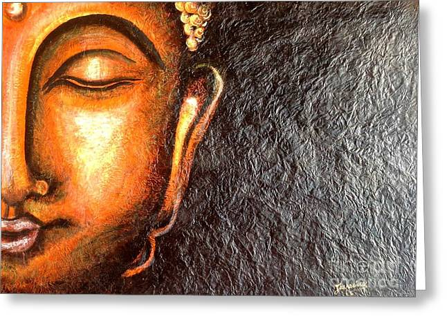 Kami A Paintings Greeting Cards - Tathagatha - Serene BUDDHA  Greeting Card by Kami