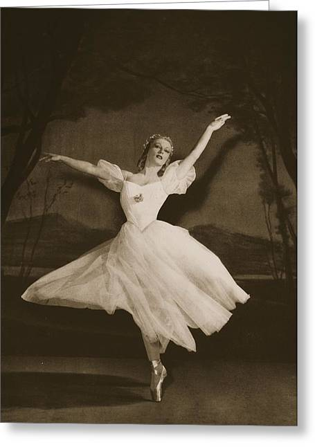 Ballet Dancers Paintings Greeting Cards - Tatiana Riabouchinska In Les Sylphides Greeting Card by French Photographer