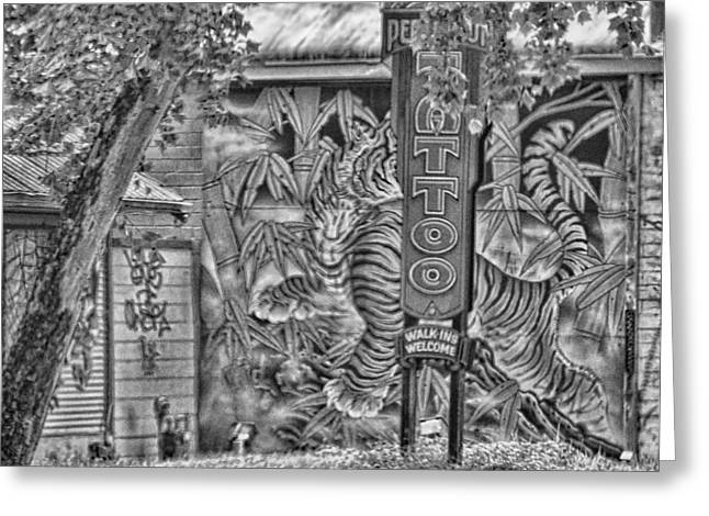 Texas Architecture Greeting Cards - Tatoo Parlor Mural Sign Greeting Card by Linda Phelps