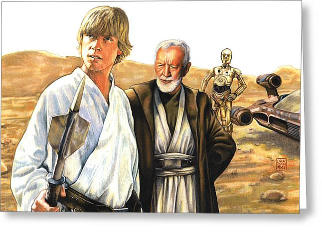 Knighted Greeting Cards - Tatooine Massacre Greeting Card by Edward Draganski