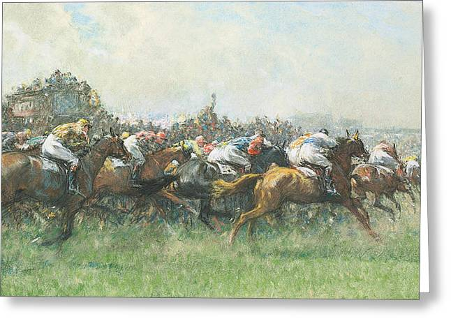Race Horse Greeting Cards - Tattenham Corner the Epsom Derby Greeting Card by Gilbert Holiday