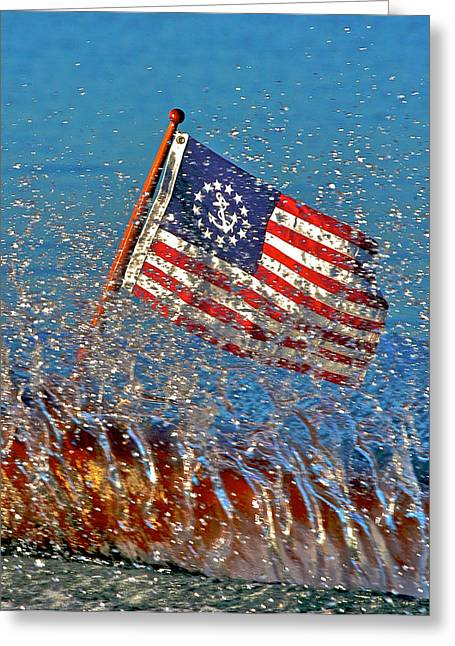Ensign Greeting Cards - Tattered Ensign Greeting Card by Steven Lapkin
