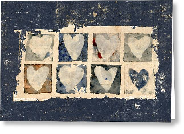 Eight Greeting Cards - Tattered Hearts Greeting Card by Carol Leigh