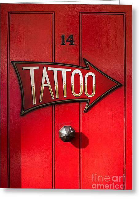 Red Doors Greeting Cards - Tattoo Door Greeting Card by Tim Gainey