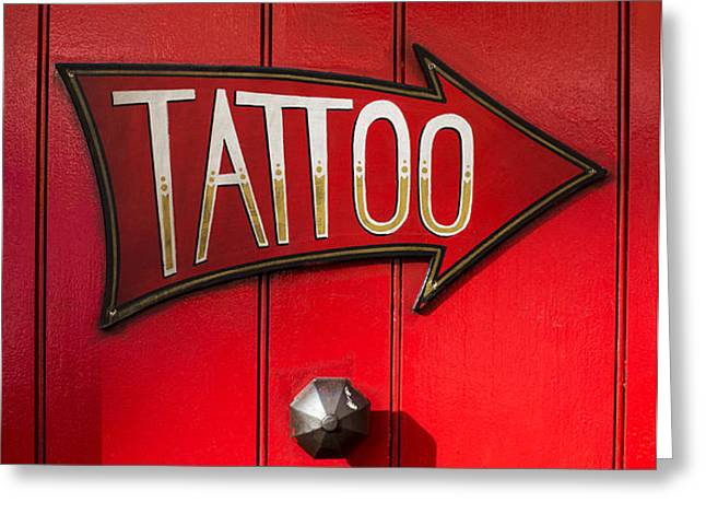 Tattoo Door Greeting Card by Tim Gainey
