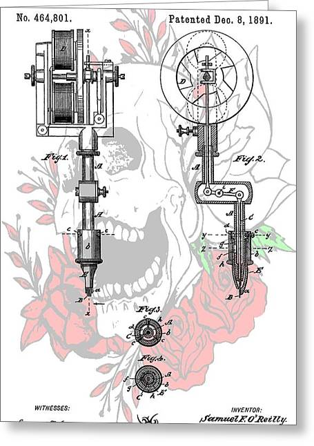 Tattoo Artist Greeting Cards - Tattoo Machine Patent Greeting Card by Dan Sproul