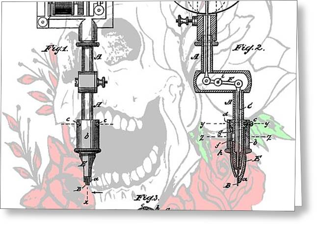 Tattoo Machine Patent Greeting Card by Dan Sproul