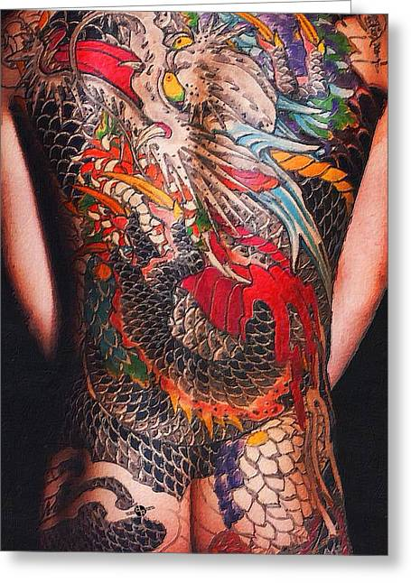 Empower Greeting Cards - Tattoo Painting Man Back And Arms Black Greeting Card by Tony Rubino