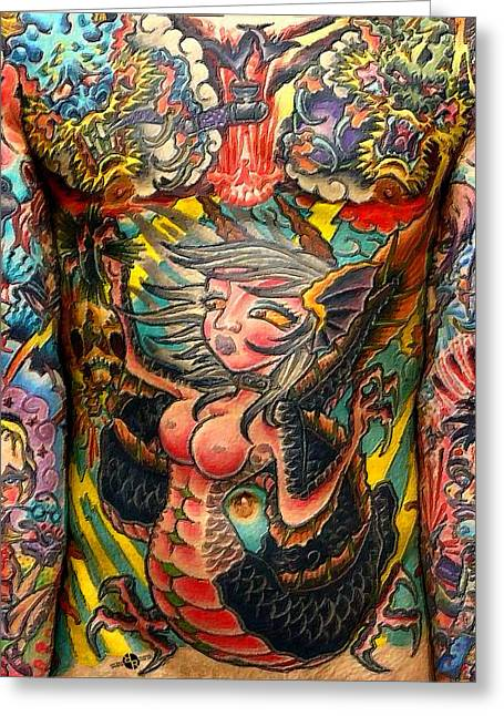 Empower Paintings Greeting Cards - Tattoo Painting Man Torso And Arms Greeting Card by Tony Rubino