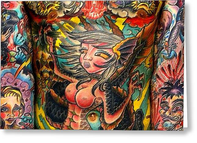 Empowering Greeting Cards - Tattoo Painting Man Torso And Arms Greeting Card by Tony Rubino