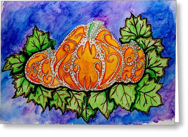 Tattoo Pumpkin Patch Greeting Card by Allison Tilberg