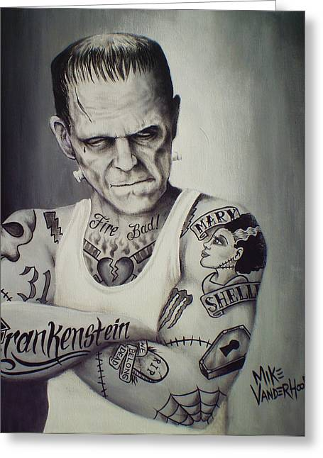 Universal Paintings Greeting Cards - Tattooed Frankenstein by Mike Vanderhoof Greeting Card by Mike Vanderhoof