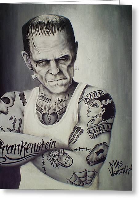 Tattooed Frankenstein By Mike Vanderhoof Greeting Card by Mike Vanderhoof